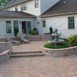EP Henry patio and walkway installations to help you expand your outdoor living space.  Coventry I patio, seat walls and steps.